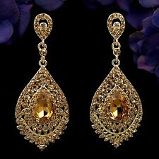 18K Gold Plated GP Topaz Crystal Rhinestone Chandelier Drop Dangle Earrings 7867