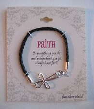 Faith Fine Silver Plated Cross Leather Braid Bracelet, FREE S&H, $60, Gift