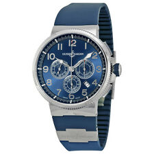 Ulysse Nardin Marine Chronograph Metallic Blue Dial Blue Rubber Mens Watch