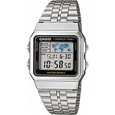 Casio A500WEA Mens Digtial Watch with World Time Stainless Steel - New