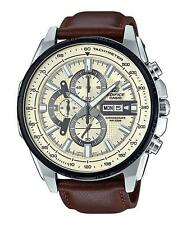CASIO EDIFICE, EFR549L-7B EFR-549L-7B, CHRONO, STOPWATCH, BROWN LEATHER BAND