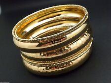 New Plus Size  8 Bangle Bracelets Women Gold plated fits 7.5-8.5 Wrists