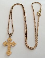 Beautiful Ladies Antique 9Ct Rose Gold Cross On 9Ct Rose Gold Chain ( 18 Inch )