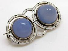 Antique Art Deco Silver & Blue Chalcedony/Agate Sugar Loaf & Enamel Brooch/Pin