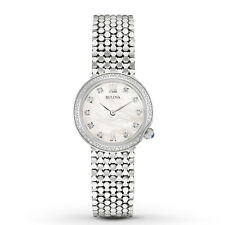 New Bulova 96R206 Stainless Steel Diamond Mother Of Pearl Dial Ladies Watch