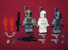 LEGO Star Wars minifigures LOT Boba Fett,White Boba Fett (Prototype),Jango Fett