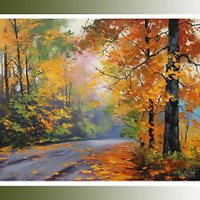Gercken LARGE Autumn Oil painting FALL TREES ART ROAD TRAIL Traditional Art