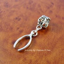 Wish Bone charm with slider bead for silver European charm bracelet or necklace