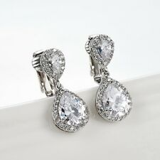 Cecilia Swarovski Crystal Teardrop Halo Bridal Formal Clip-on Earrings Wedding