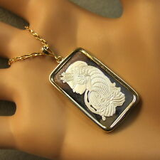 9ct gold New lady luck bullion pendant with 10g fine silver ingot & chain