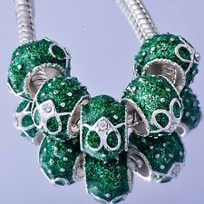 Tibetan White Gold european spacer beads charms murano for bracelets lot green 5