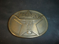 Old Vtg Collectible Solid Brass Philip Morris 1987 Marlboro Belt Buckle