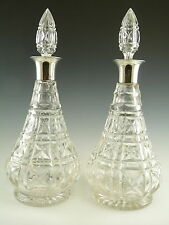 MAPPIN & WEBB & John WALSH Crystal - KENILWORTH Cut - Pair Silver Top Decanters