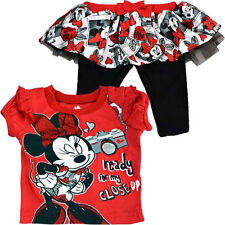 DISNEY Minnie Mouse 2pc Set T-Shirt Tutu Legging Toddler Girls Apparel Size 3-6
