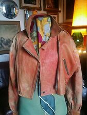 Vintage 80s cropped distressed Leather Biker Glam Motorcycle Jacket.Medium 10-14