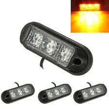 4pcs Mini Lightbar 3-LED Emergency Warning Strobe Flash Light Lamp Amber Yellow
