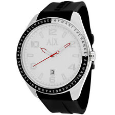 NEW ARMANI EXCHANGE AX1300 WHITE DIAL BLACK RUBBER STRAP SILVER CASE MEN'S WATCH