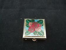 Small Metal Square Gold Coloured Pill Box - Ornate Design.