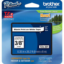 Brother TZe221 9mm black on white PTD200 PT200 PT1090BK PT1280 TZ ptouch tape