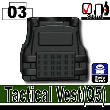 Black Q5 (W34) Tactical Army Vest compatible with toy brick minifigures SWAT