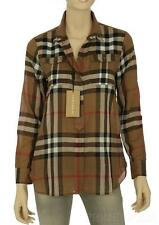 NEW BURBERRY LADIES CURRENT TAUPE BROWN CHECK COTTON SHIRT TOP M MEDIUM