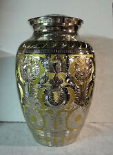 Adult Brass Urn~Extra Large Beautiful Silver & Gold Embossed~for up to 300 lb