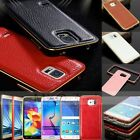 Luxury Metal Frame+Leather Back Cover Case For Samsung A3/A5/A7/S5/S6/Edge/Note4