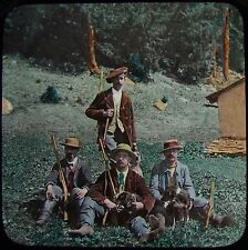 Glass Magic Lantern Slide GROUP OF CHAMOIS HUNTERS C1890 PHOTO SWITZERLAND