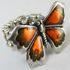 Orange Clear Crystal Butterfly Silver Stretch Ring Alloy Enamel