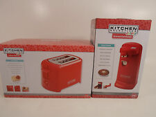 Set of Kitchen Selectives Electric Can Opener and Toaster NEW Red