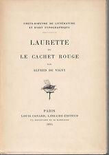 ALFRED DE VIGNY  LAURETTE OU LE CACHET ROUGE  1914
