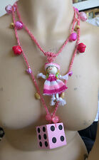HANDMADE STATEMENT CROCHETED  NECKLACE FIBER ART AND BEADS NO METAL NO STONE