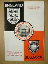 International Match Under 23 Official Souvenir 1970- ENGLAND v BULGARIA, 8 April