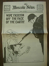 MOSCOW NEWS WWII NEWSPAPER JUNE 27th 1941 WIPE FASCISM OFF THE FACE OF THE EARTH