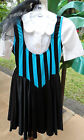 50s Turquoise/Black Striped Jitterbug, Swing dance Costume w/Vintage Blouse S-M