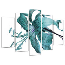 5 Piece Teal Floral Canvas Art Wall Pictures Set Green Blue Print 5054