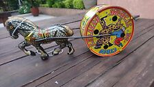 1960's PLASTIMARX (MEXICAN MARX) METAL TIN HORSE WITH MUSICAL CIRCUS DRUM NM