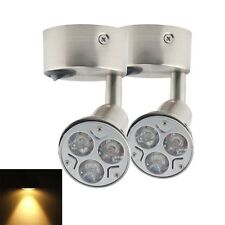 2X 12V DC Warm White LED Round Bed Side Light Reading Wall Bedside Lamp Switch