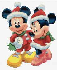 "NATALE MICKEY & MINNIE BIANCO contato CROSS STITCH KIT 9 ""x11"" DISNEY Gratis P&P"