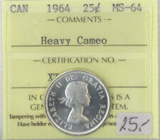 1964 Canada 25 Cents Silver Quarter MS-64 ICCS Certified Heavy Cameo XTG 861