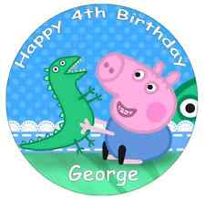 "George Pig Peppa Pig Personalised Cake Topper 7.5"" Edible Wafer Paper"