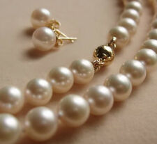 8MM White Akoya shell Pearl Necklace + Earring AAA 18''