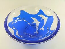 ORREFORS Glass - Olle Alberius - DOLPHINS - Ariel Method Fruit Bowl - 11""