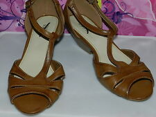 Wedge T Strap Fisherman Shoes size 9.5 B, M Brown all man made Mossimo Supply