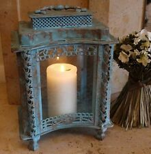 Antique French Vintage Style Large Glass Lantern Candle Holder Blue Shabby Chic