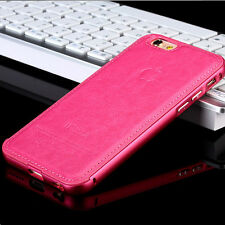 Luxury Leather Aluminum Metal Bumper Frame Skin Case Cover for iPhone 6S/6 Plus
