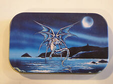 new slim 1oz hinged tobacco tin Enchanted Blue Dragon