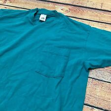 VTG 90s Fruit Of The Loom SKATE SURF L Turquoise POCKET T Shirt GRUNGE Made USA