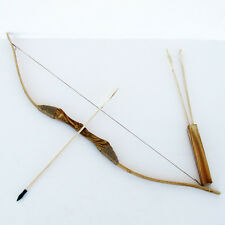 WOODEN BOW AND ARROW w QUIVER set 3 PACK ARROWS wood youth archery hunting toy