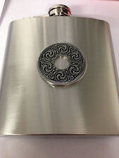 CELTIC INTERLACED DISC REFODDP   english pewter 6oz Stainless Steel Hip Flask
